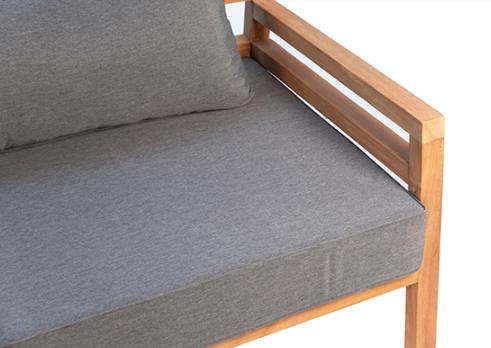 "75"" teak bench with grey cushion closeup"