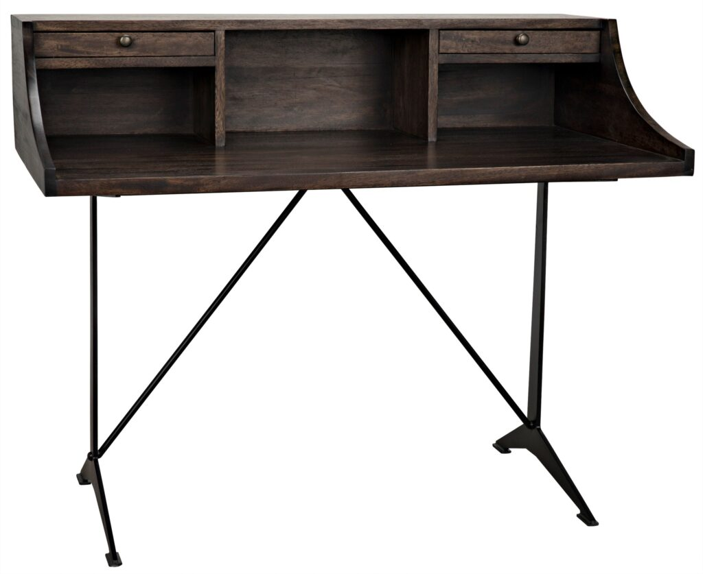 48″ Dark Walnut and Iron Base Home Office Desk