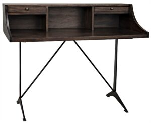 48″ Dark Walnut and Iron Base Home Office Desk