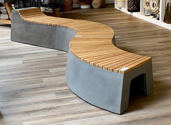 Concrete and teak patio bench