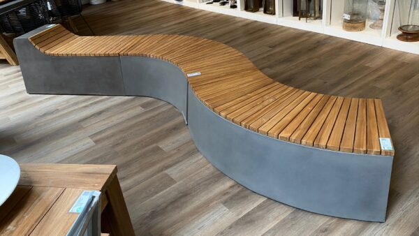 Concrete and teak outdoor bench