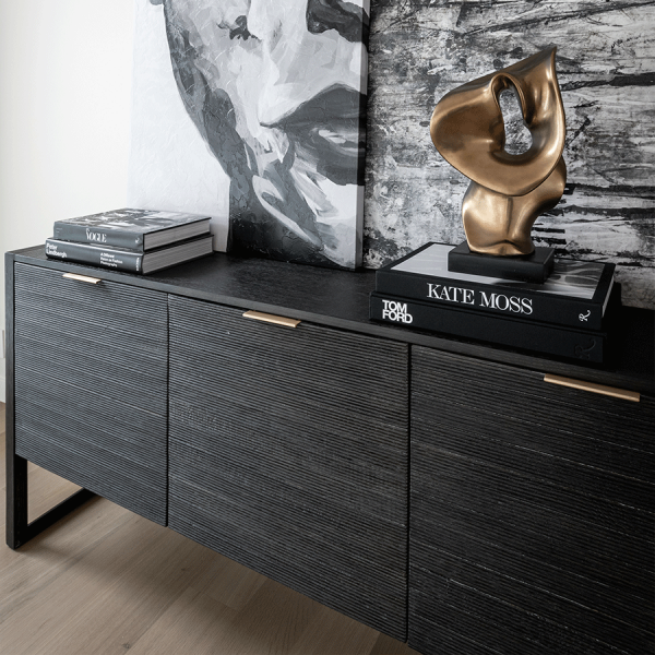black modern sideboard in living room setting
