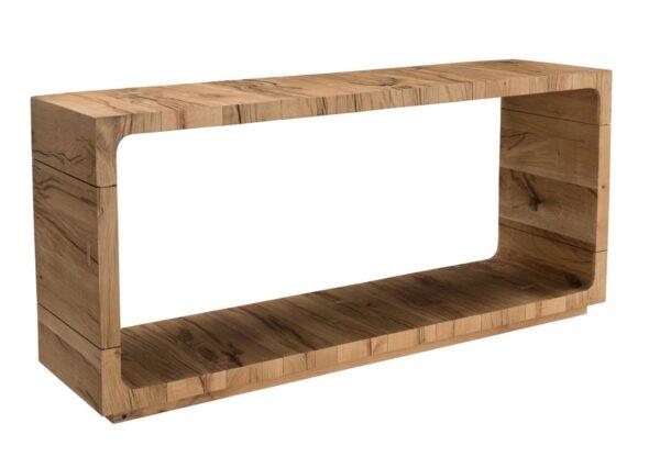 Open design light oak console table