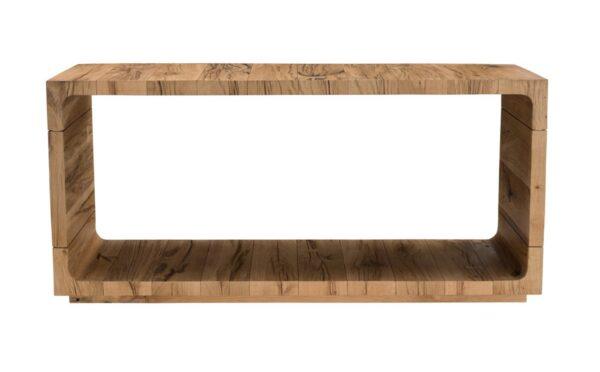 Open design light oak console table front view