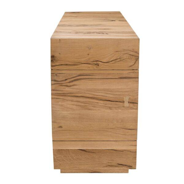 Open design light oak console table side view