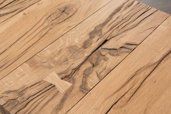 Open design light oak console table close up