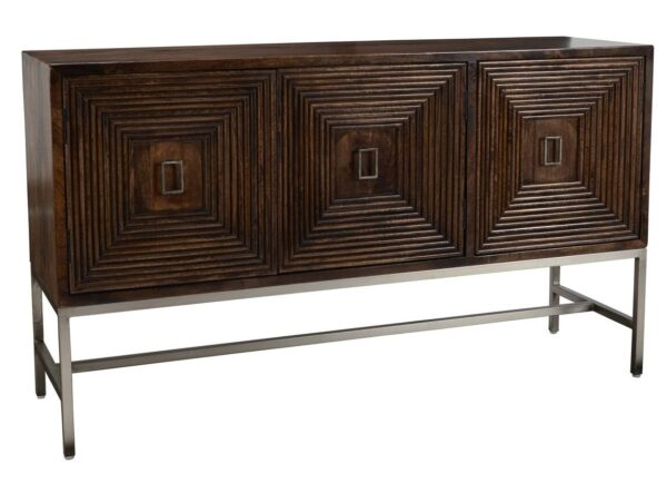 """63"""" dark wood media cabinet with 3 doors and silver iron base"""