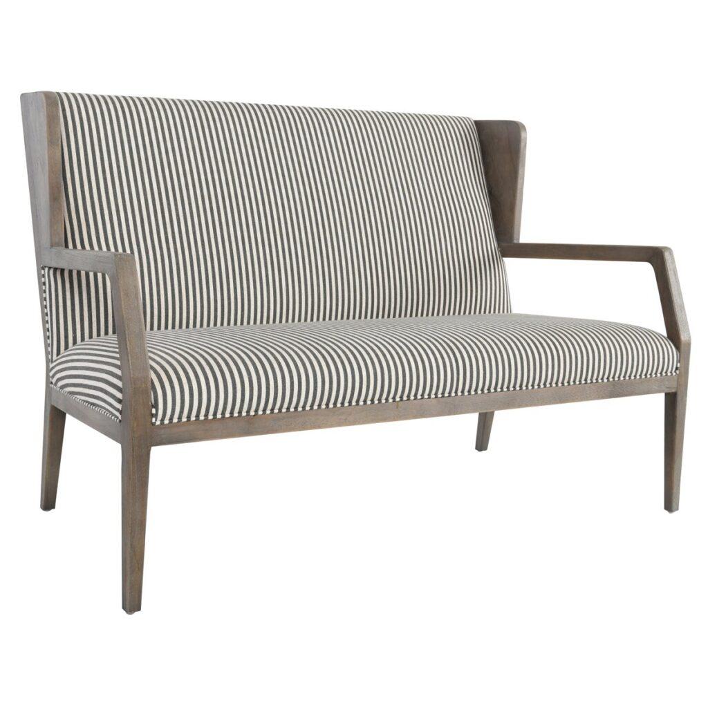 Grey Oak Settee with Striped Linen Cushion
