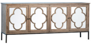 82″ Console Cabinet with 4 Pane Clover Mirror Insert