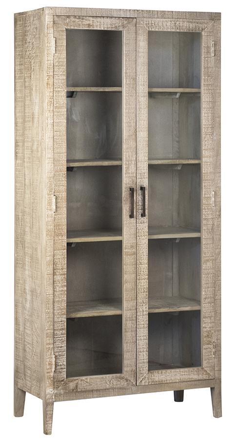 78″ Tall Grey Wash Vitrine with Glass Doors