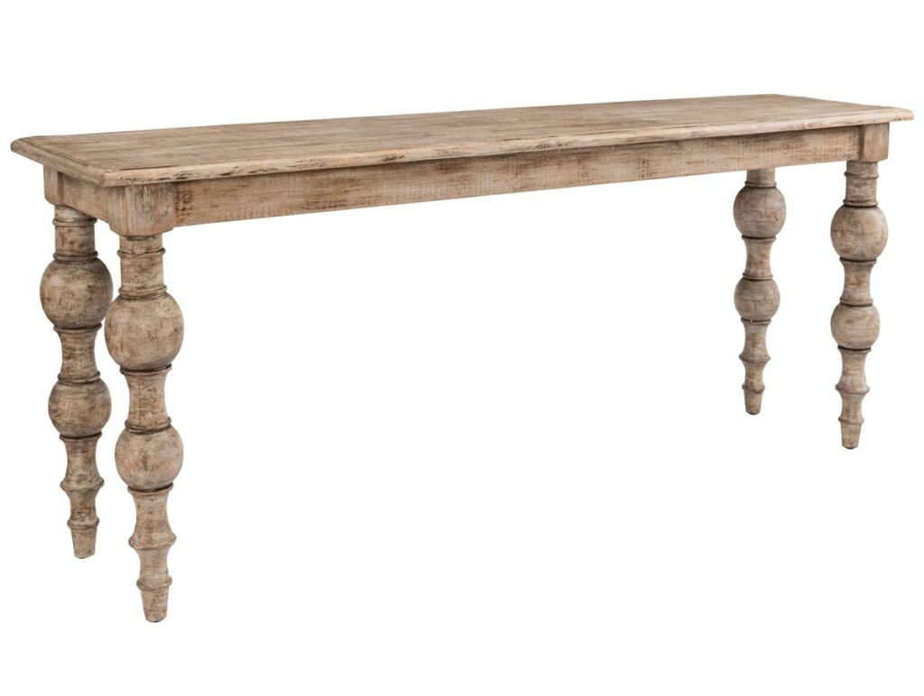 72″ Pine Console Table with Turned Legs