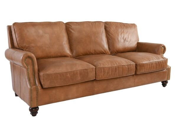 Caramel brown top grain leather sofa with 3 seats