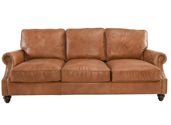 Caramel brown top grain leather sofa with 3 seats front view