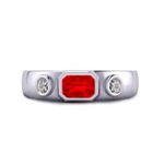 Emerald Cut Ruby & Diamond Platinum Ring