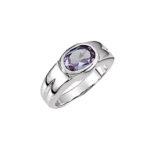 Bezel Set Oval Sapphire & Platinum Ring