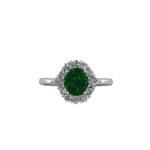 Oval Emerald & Diamond Halo Platinum Ring