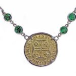 Yellow Gold Coin & Emerald Platinum Necklace