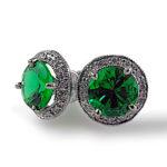 Emerald & Diamond Halo Platinum Studs