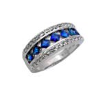 Princess Cut Blue Sapphire & Diamond Platinum Band