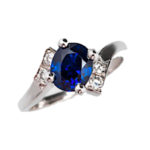 Oval Sapphire & Diamond Bypass White Gold Ring