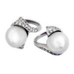 Pearl & Diamond Swirl White Gold Ring