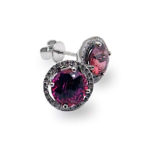 Pink Sapphire & Diamond Halo White Gold Studs