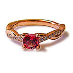 Pink Sapphire & DIamond  Rose Gold Crossover Ring
