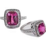 Pink Sapphire & Diamond White Gold Halo Ring