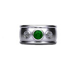 Bezel Set Emerald & Diamond Platinum Ring