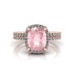 Rose Quartz & Diamond Rose Gold Ring