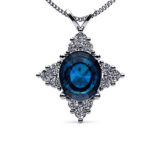 Oval Sapphire & Diamond White Gold Pendant