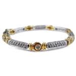 Bezel Set Diamond Yellow & White Gold Bracelet