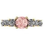 Pink Sapphire & Diamond Yelloow Gold Ring
