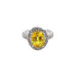 Oval Yellow Sapphire & Diamond Halo White Gold Ring