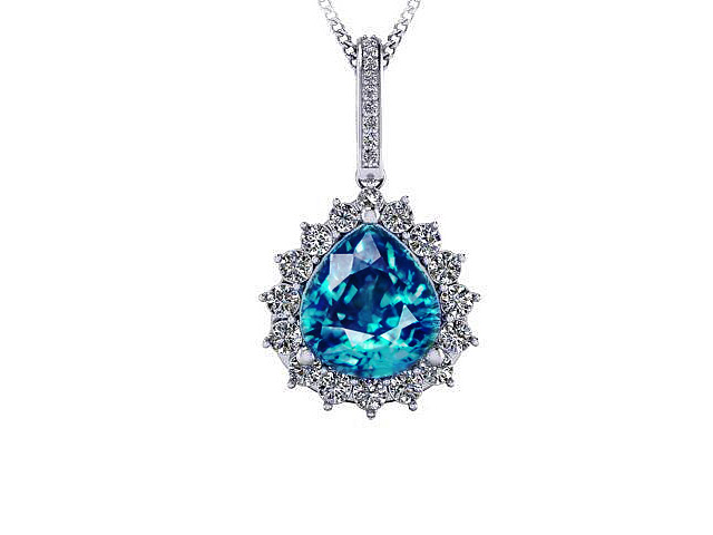 Pear Zircon Pendant necklace-blue