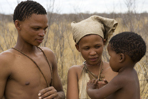 Young Naro bushman (San) family, Central Kalahari, Botswana