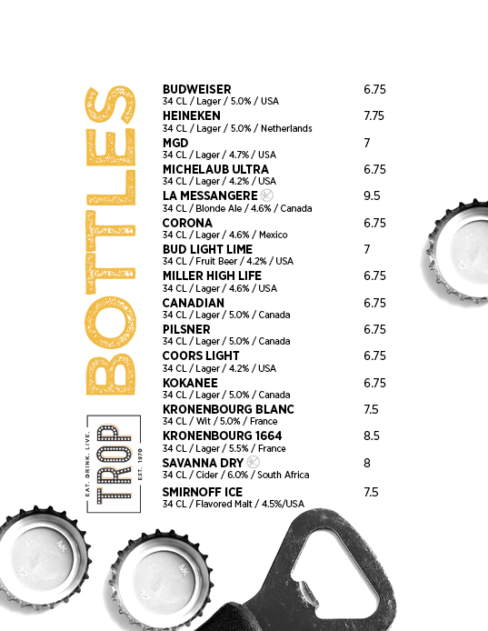 The Trop Beerlist menu