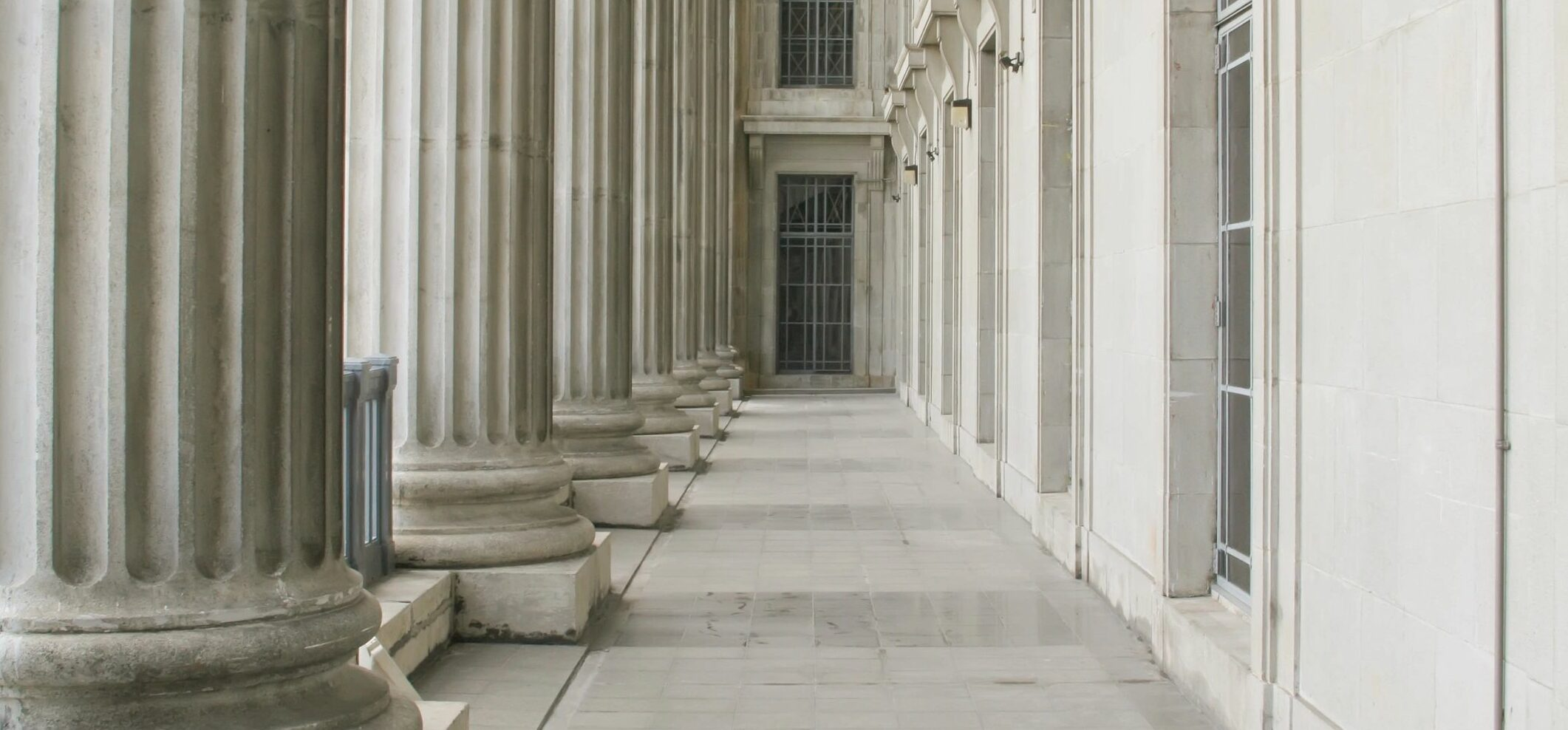 image of stately columns and windows on a government building