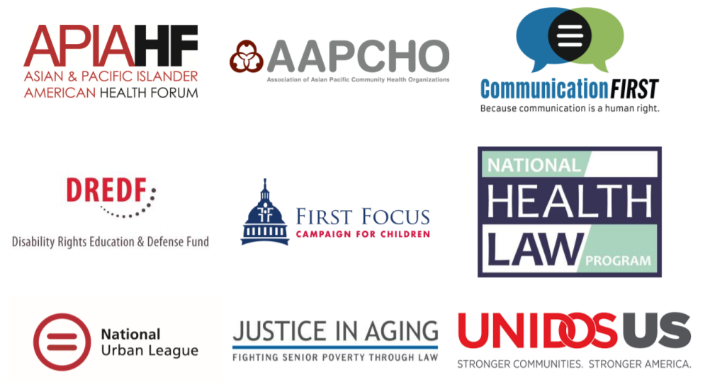 logos of the nine national advocacy groups signing May 29 2020 Letter to Congress