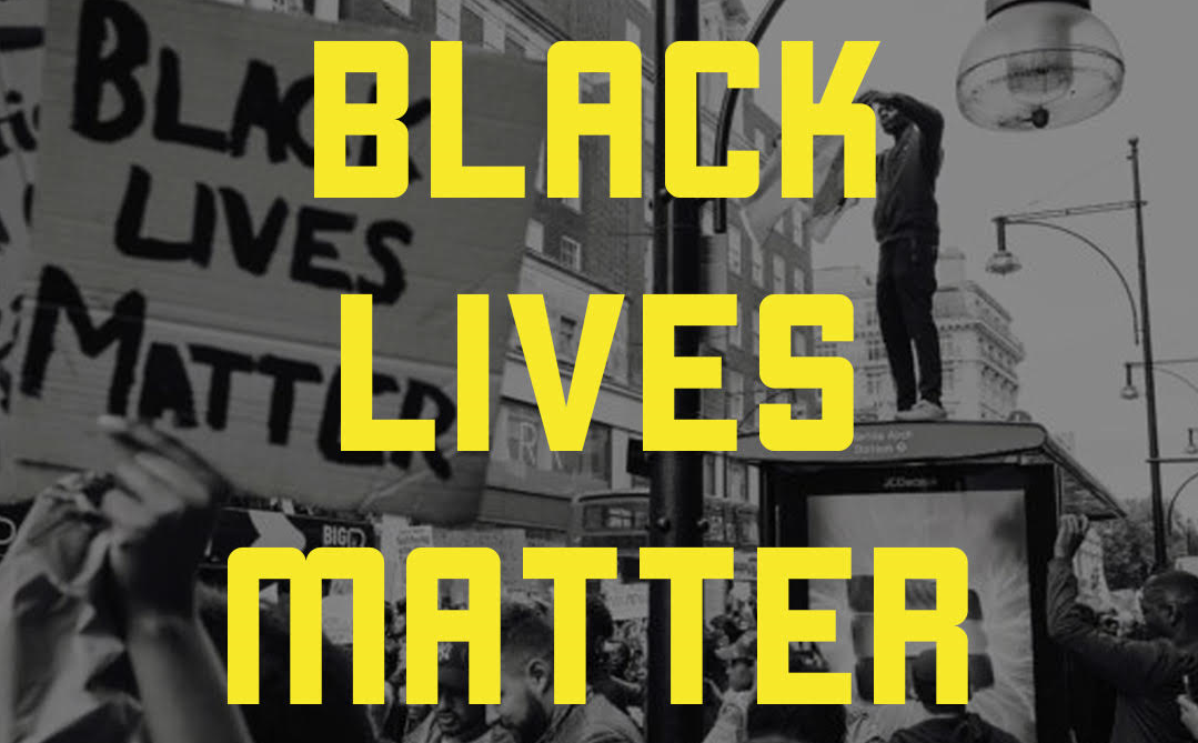 """Black lives matter"" in yellow, all-caps text superimposed on black and white image of people protesting"