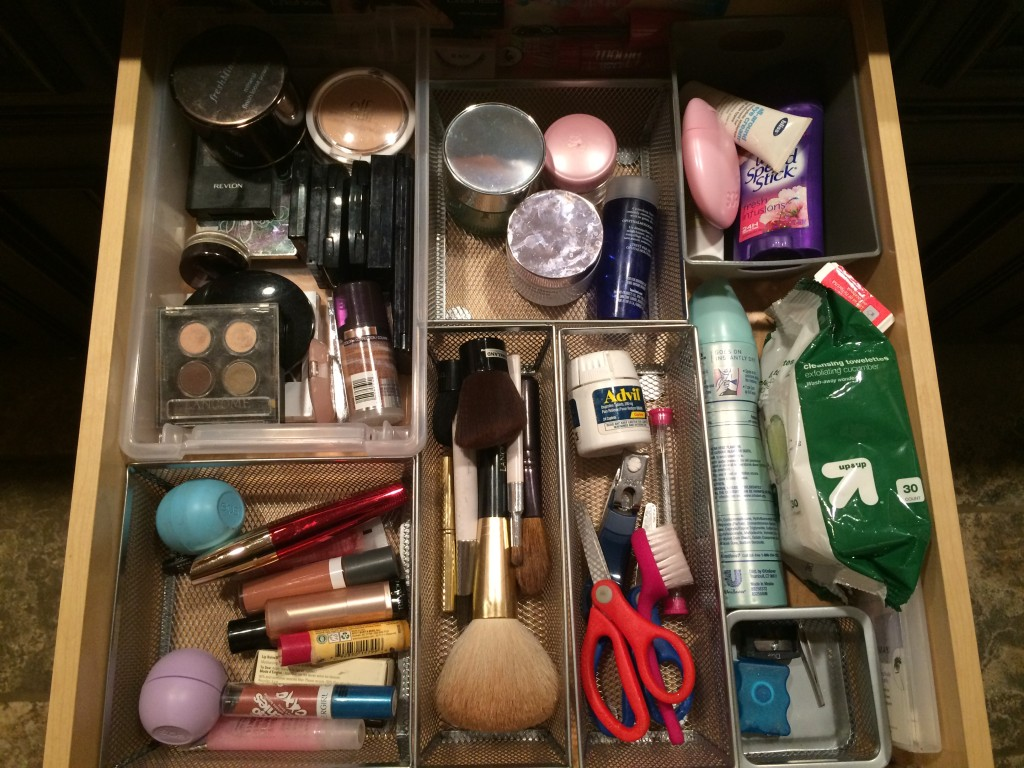 Organized Makeup drawer after organizing