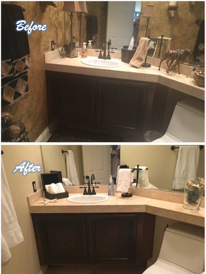 Bathroom Organization before and after