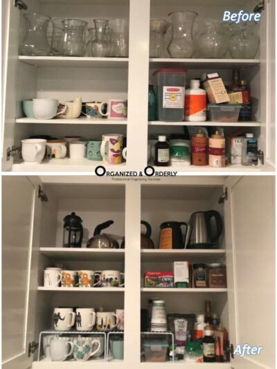 Drawer organization before and after