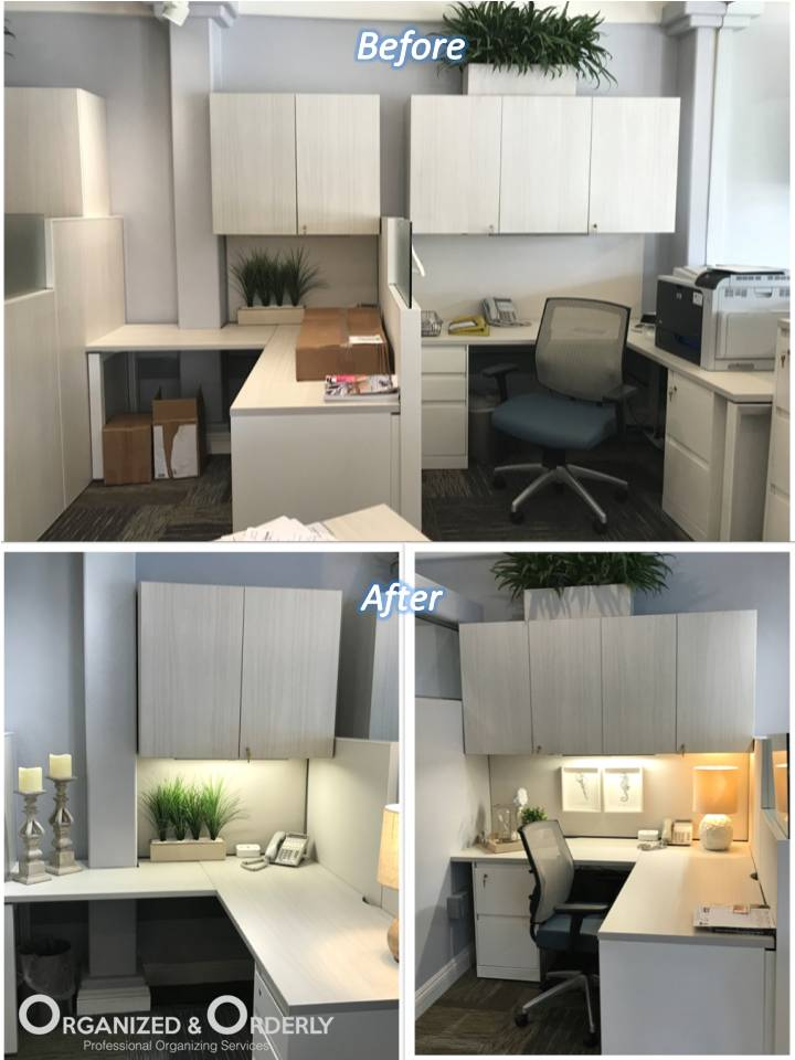 Office organizing before and after