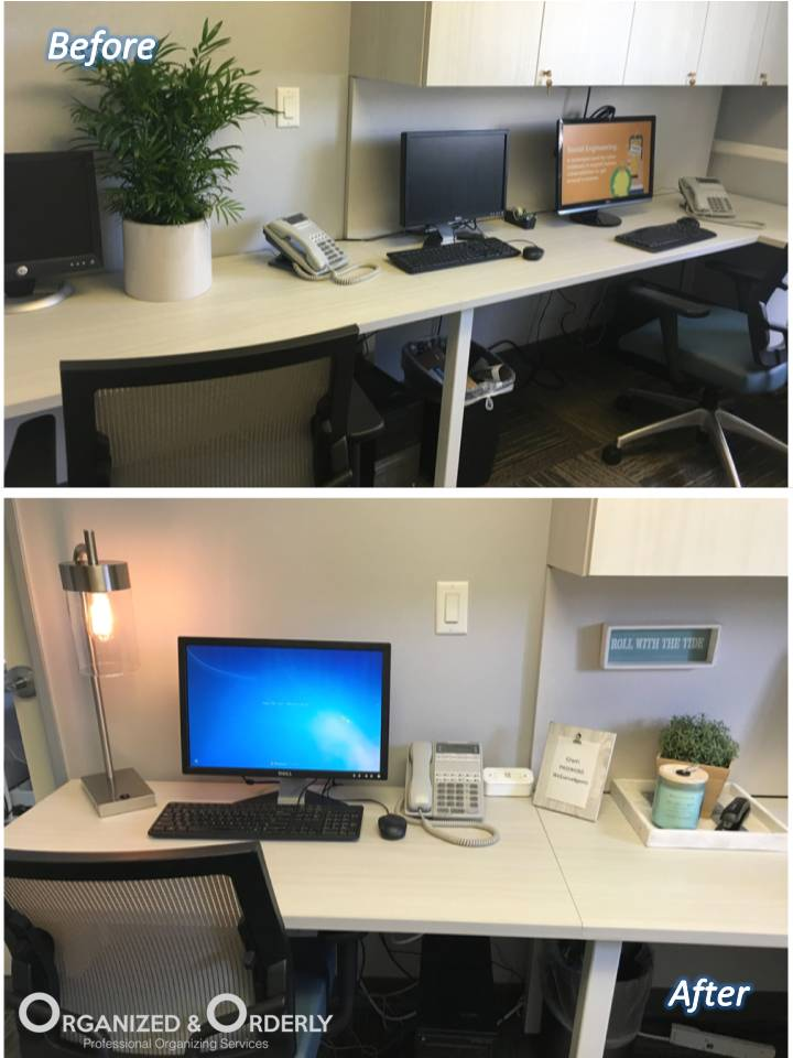 Organized Desk before and after