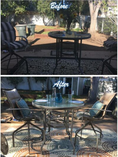 Outdoor patio staging
