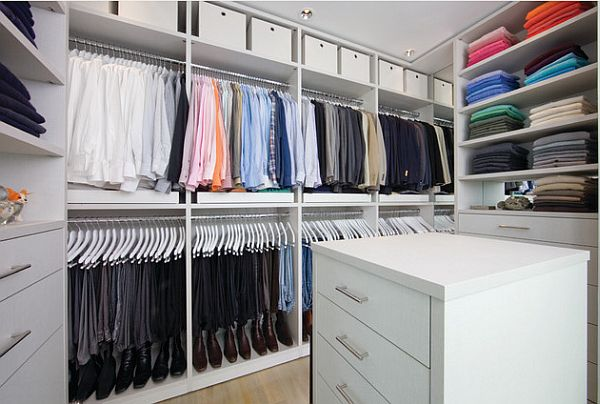 White Organized Master Closet