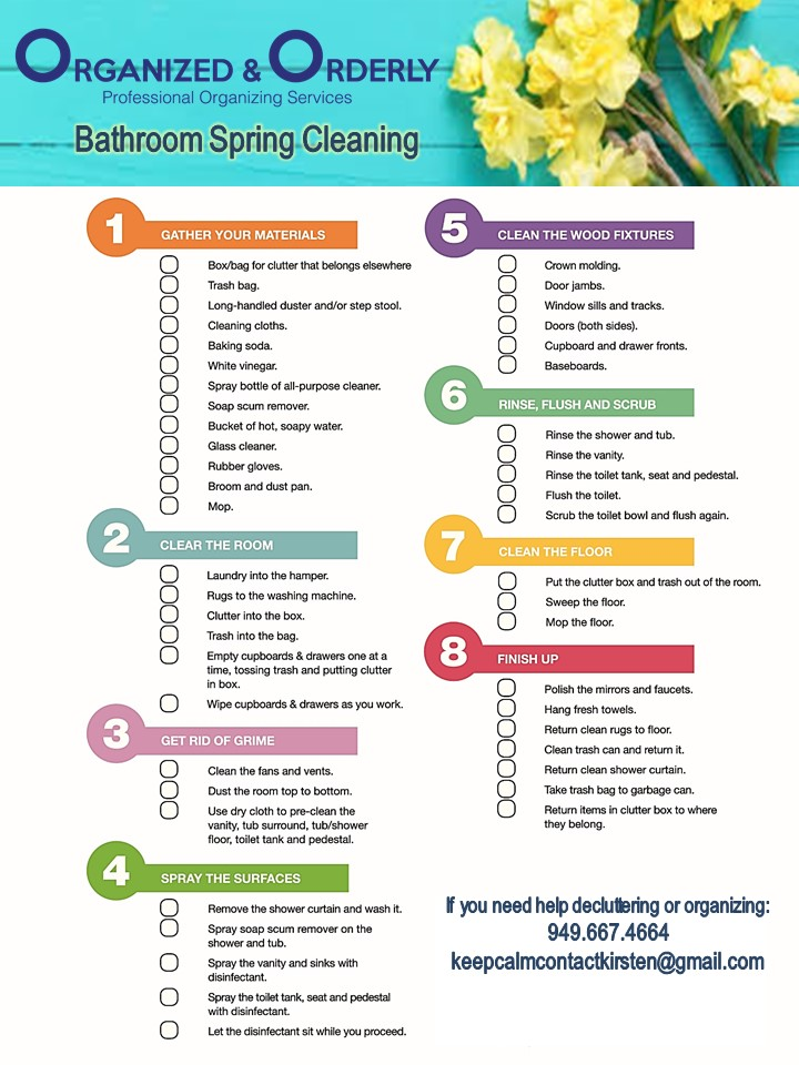 Organized and Orderly Bathroom Spring Cleaning Checklist