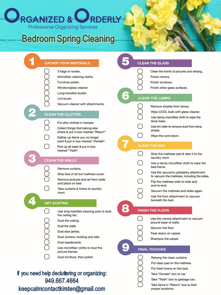 Organized and Orderly Bedroom Spring Cleaning Checklist