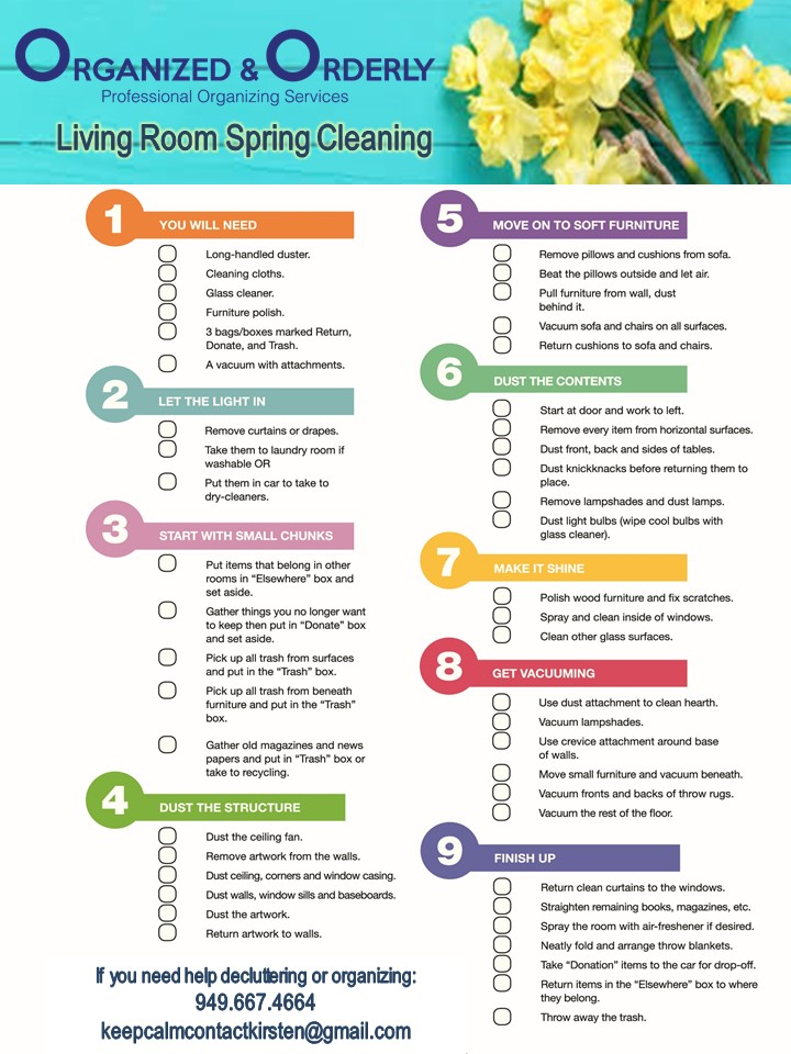 Organized and Orderly Living Room Spring Cleaning Checklist